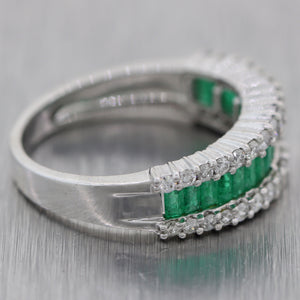 Vintage Estate 14k White Gold 1.45ctw Emerald & Diamond Band Ring