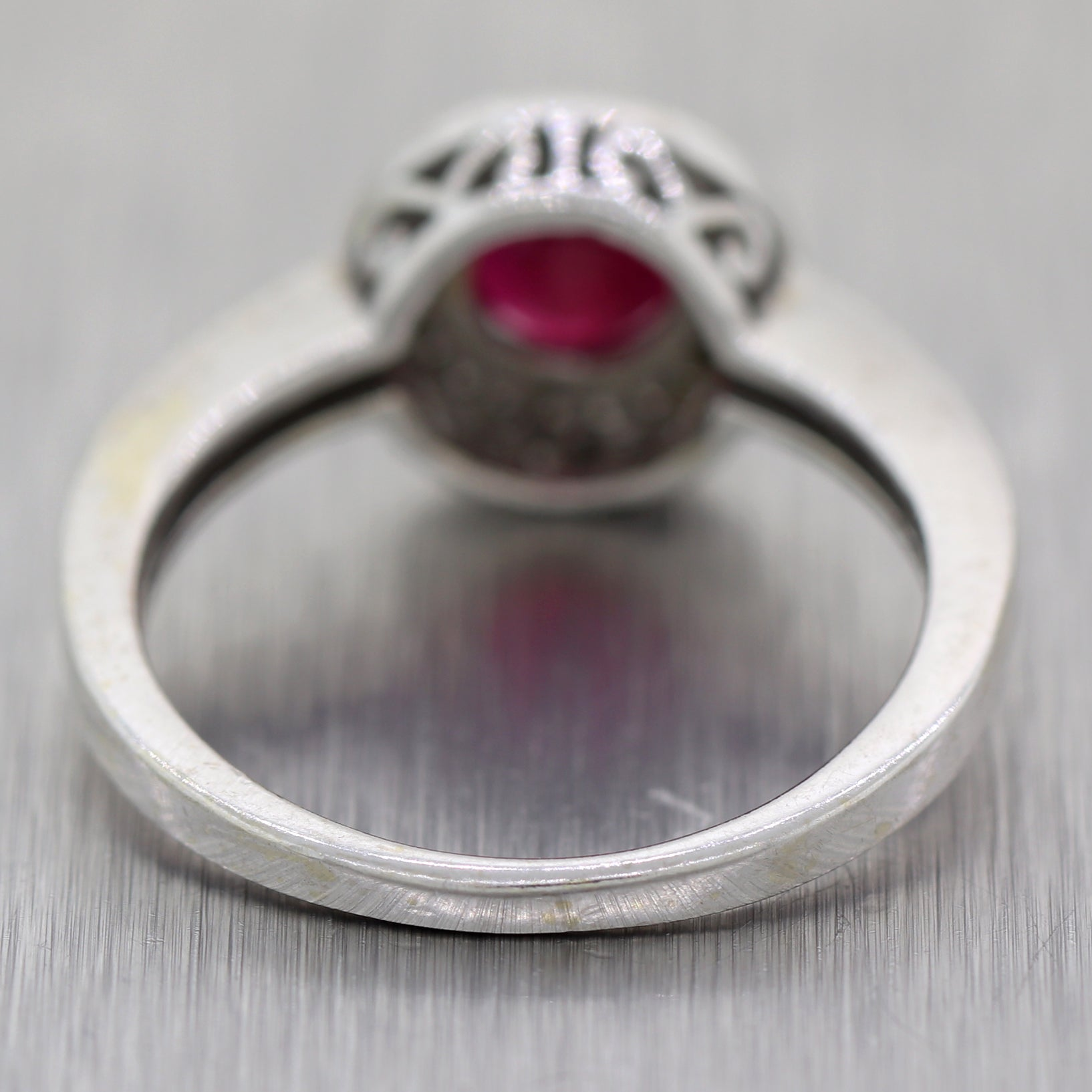 Vintage Estate 14k White Gold 1.15ctw Ruby & Diamond Ring