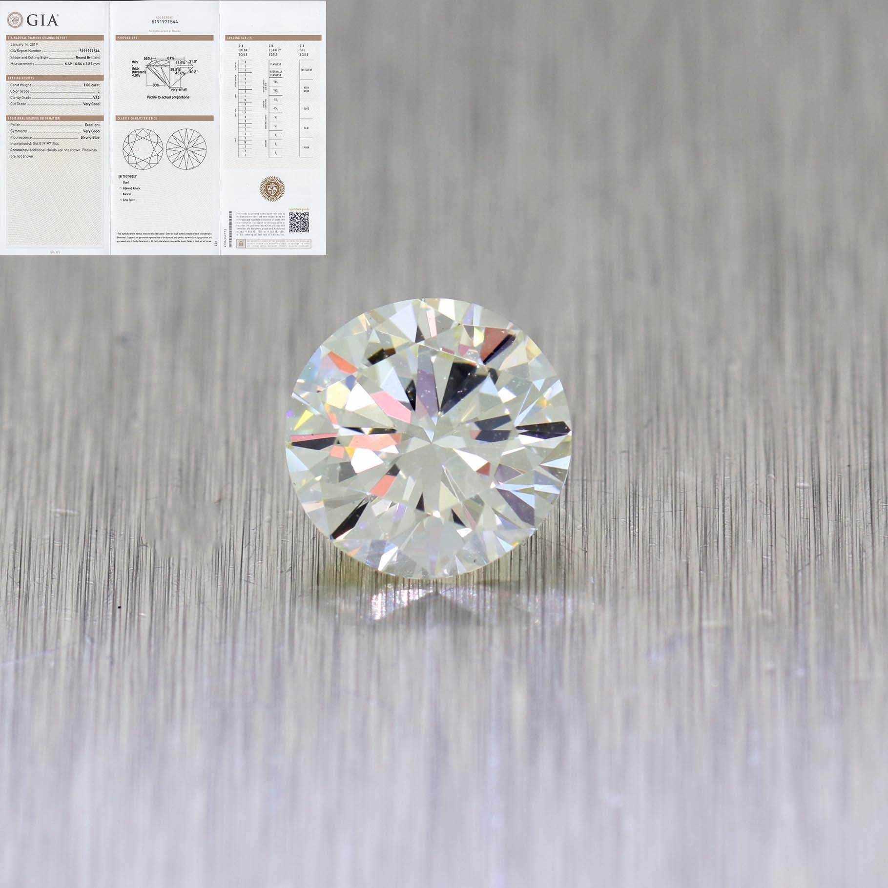 474316b43342 1.00ctw Round Brilliant Cut L Color VS2 Clarity GIA Loose Diamond ...
