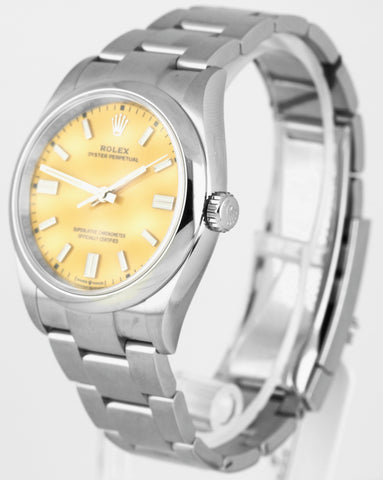 BRAND NEW Rolex Oyster Perpetual 36mm Stainless Steel Yellow Stick Watch 126000