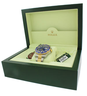 PAPERS 2011 Rolex Submariner Ceramic 116613 Two Tone Gold Steel Blue Watch Box