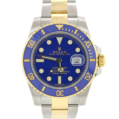 MINT Rolex Submariner 116613 Two Tone Steel 18k Gold Blue Dive 40mm Watch A9