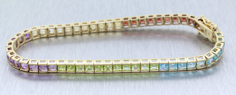 Vintage Estate 10k Solid Yellow Gold 11ctw Multicolor Quartz Tennis Bracelet