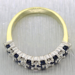 Vintage Estate 18k Yellow Gold 1.39ctw Diamond & Sapphire Band Ring