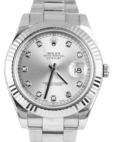 2016 Rolex Datejust II 2 41MM Silver Diamond 116334 Stainless 18K Gold Watch