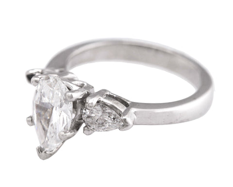 Ladies Platinum 1.44CT D VS2 Pear Trillion Brilliant Diamond Engagement Ring GIA