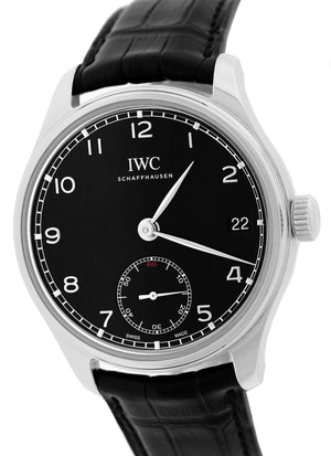 2014 IWC Portuguese Hand Wound Eight Days 43mm Black Steel Watch IW510202 5102