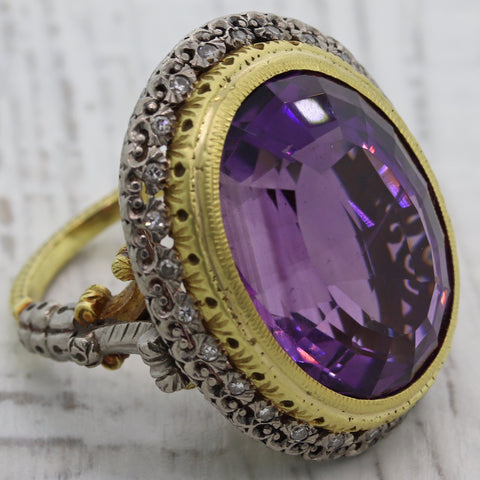 Antique Vintage Estate Platinum 18k Yellow Gold Amethyst Diamond Cocktail Ring C8
