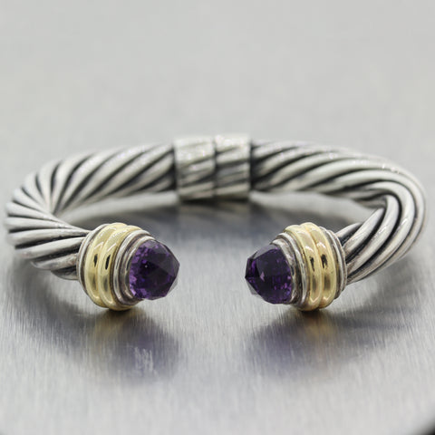 David Yurman Sterling Silver 14k Yellow Gold Amethyst 10mm Cable Cuff Bracelet