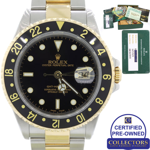 MINT Rolex GMT-Master II 16713 Two-Tone 18k Gold Steel Black SEL Watch Papers C8