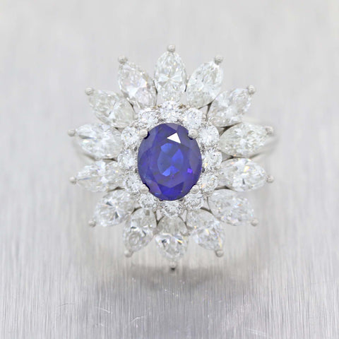 Tiffany & Co. 3.86ctw Natural Cambonia Oval Sapphire Platinum Diamond GIA Ring