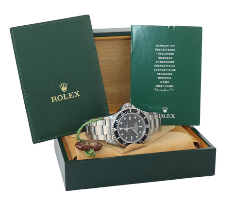 MINT Rolex Sea-Dweller Steel Date 16600 40mm Date Black Diver Watch Box