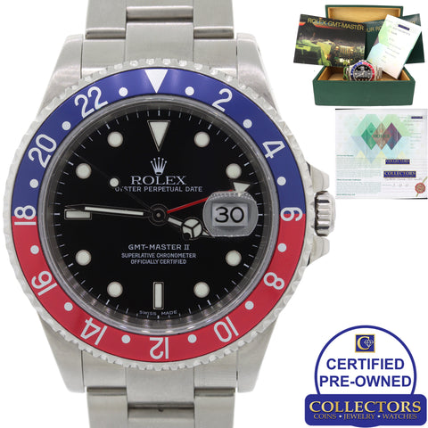 Rolex GMT-Master II 16710 Steel Date Pepsi Blue Red SEL Watch Box Papers C8