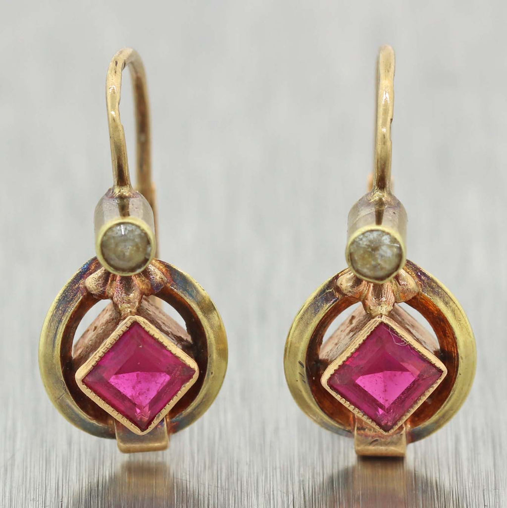 1880's Antique Victorian 14k Yellow Gold Synthetic Ruby & Paste Earrings