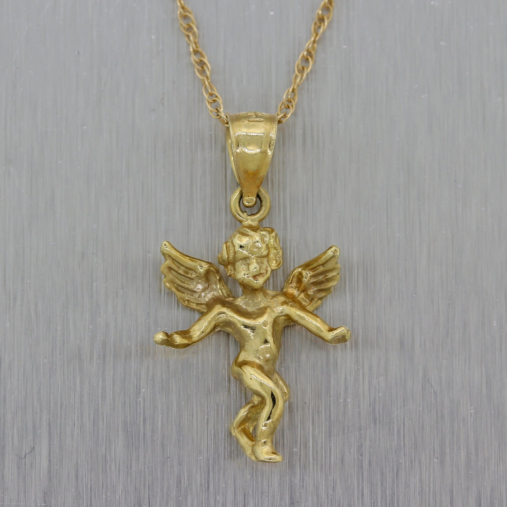 "Vintage Estate 14k Yellow Gold Angel Cupid 18"" Necklace"