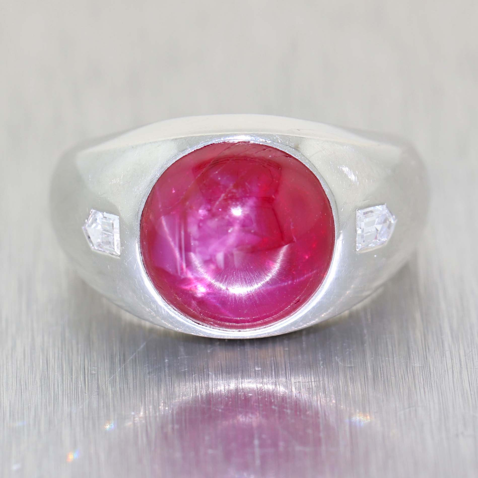 9.25ctw Cabochon Natural Star Ruby Diamond 1930s Antique Art Deco Mens Band Ring