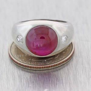9.25ctw Cabochon Natural Star Ruby Diamond 1930s Antique Art Deco Cocktail Ring