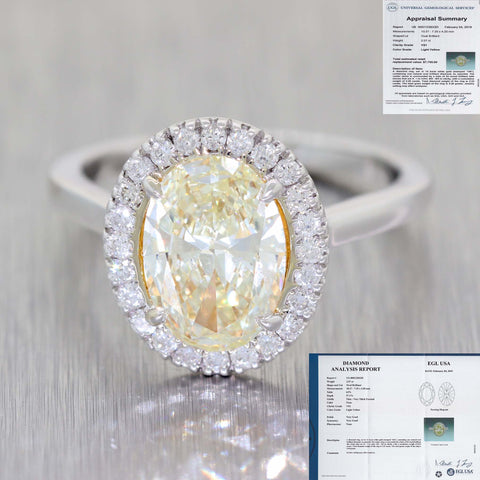 Oval 2.07ct Fancy Yellow EGL 14k White Gold 2.32ctw Diamond Halo Engagement Ring