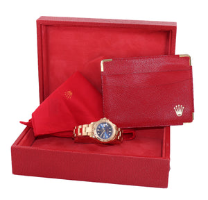 MINT Yellow GOLD Ladies Rolex Yacht-Master 69628 Blue Dial 29mm Watch Box