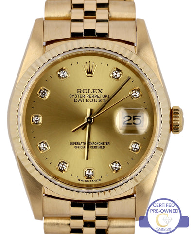 Rolex DateJust 16238 36mm 18K Solid Yellow Gold Diamond Jubilee Watch President