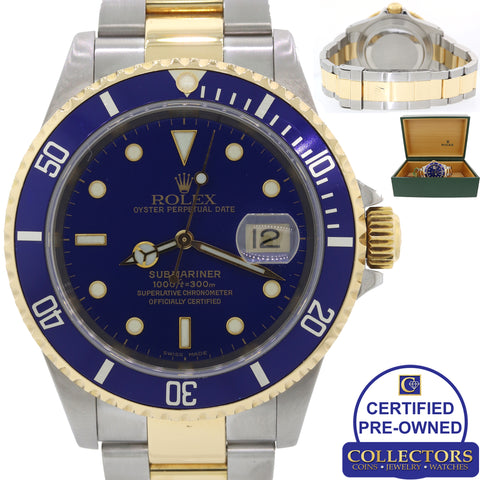 Rolex Submariner Date 16613 Two Tone Steel 18k Yellow Gold Blue SEL Watch C8