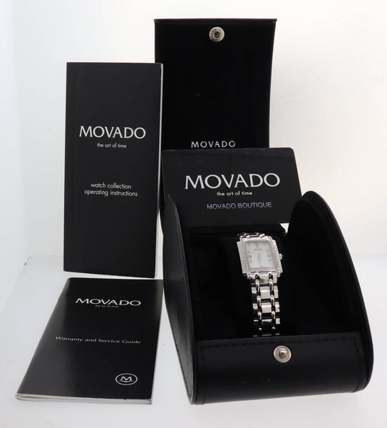 Movado Sika 66-25-0640 14k White Gold 19mm Quartz MOP