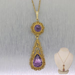"1870's Antique Victorian 18k Yellow Gold Etruscan Amethyst 18"" Necklace"