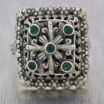 1890's Antique Victorian Sterling Silver Green Paste Ring