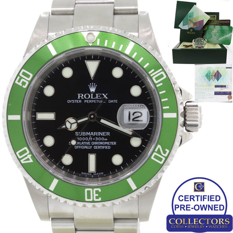Rolex Submariner Date Kermit Green Anniversary 16610 LV Steel Watch Papers C8