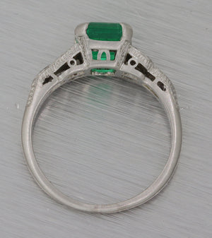 Art Deco Platinum 1.46ct Natural Green Colombian Emerald Engagement Ring GIA M8