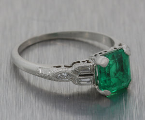 Antique Art Deco Platinum Natural 1.46ct Green Colombian Emerald Engagement Ring GIA M8