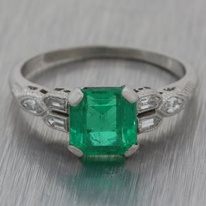 Antique Art Deco Platinum 1.46ct Natural Green Colombian Emerald Engagement Ring GIA M8