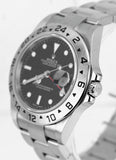 2008 UNPOLISHED Rolex Explorer II 16570 Z No Holes Black Date GMT 40mm Watch