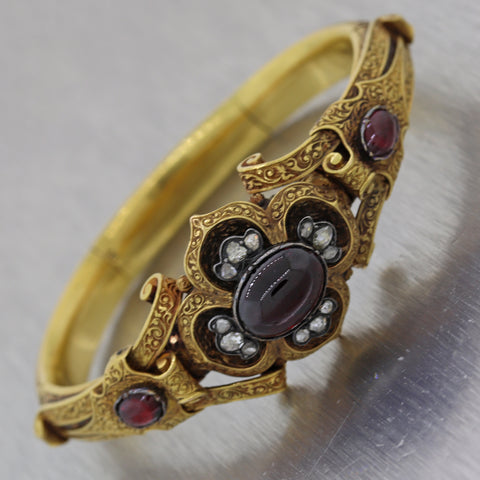 1840 Antique Victorian 18k Yellow Gold Austrian Bohemian Garnet Diamond Bracelet