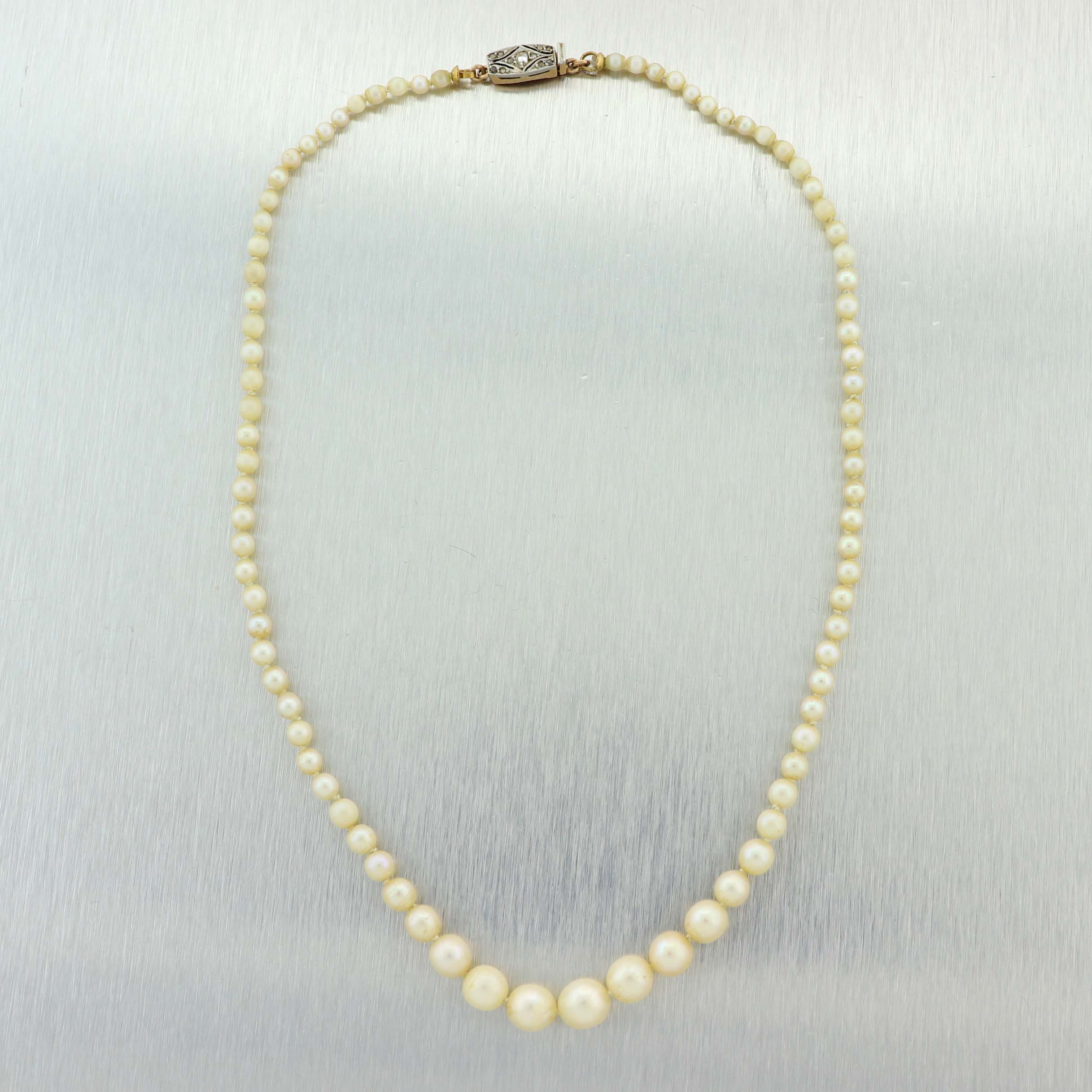 Ladies Vintage Platinum on Gold Diamond Graduated Pearl Strand Necklace