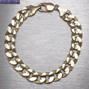 "Men's Italian 14K Yellow Gold 11mm Fancy Link Chain 8.75"" Bracelet 41.5gr"