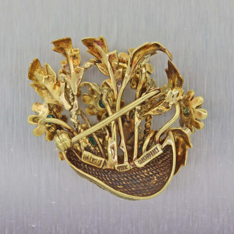 Rare Tiffany & Co. Italy 18k Yellow Gold Turquoise Enamel Flower Basket Brooch P