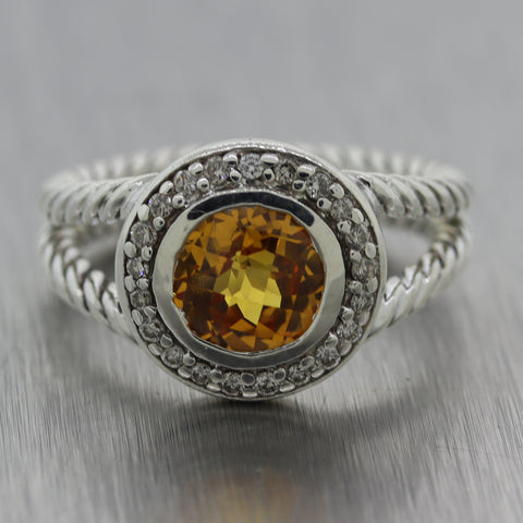 David Yurman Sterling Silver 2.20ctw Citrine & Diamond Cable Ring