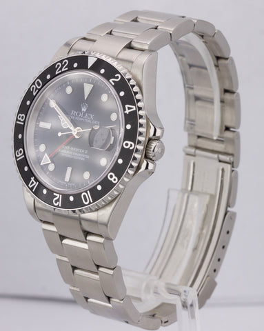 2004 FULL SET Rolex GMT-Master Pepsi Black No Holes Stainless 16710 40mm Watch