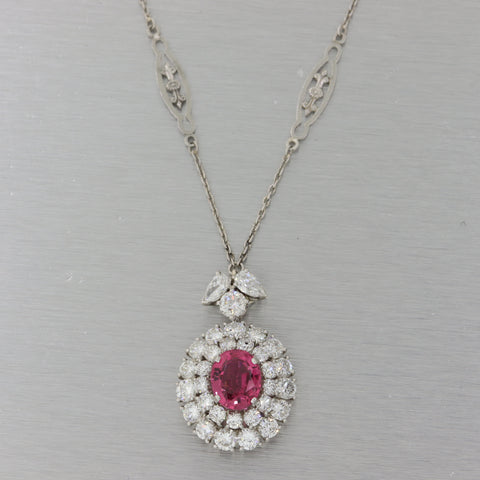 Vtg. Estate Platinum 6.22ctw Natural Tourmaline Cluster Diamond Necklace M8 $10060