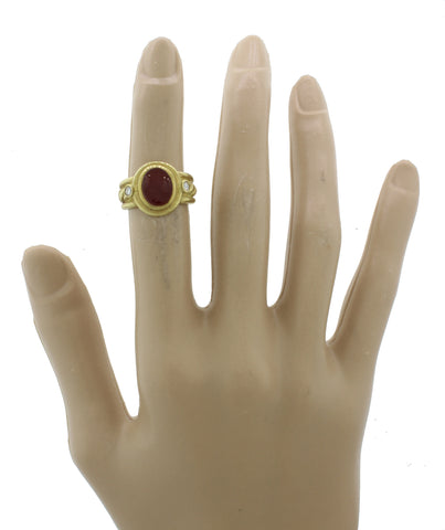 Judith Ripka 18k Solid Yellow Gold Red Carnelian Intaglio .12ctw Diamond Ring