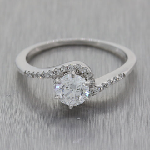 Modern 14k White Gold .58ct Diamond Bypass Swirl Halo Engagement Ring GIA