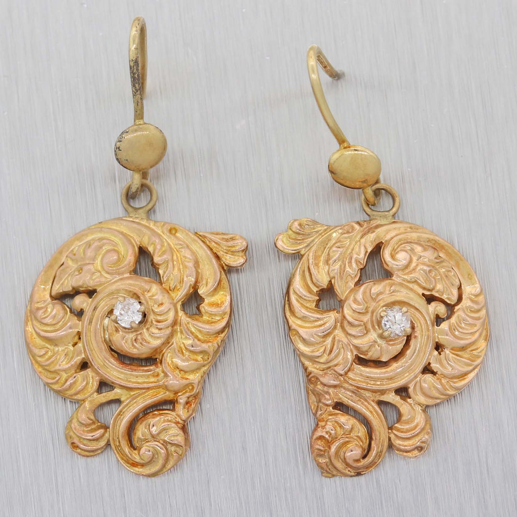 1880s Antique Victorian Estate 14k Yellow Gold .10ctw Diamond Drop Hook Earrings