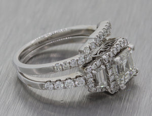 18k White Gold 1.95ctw Diamond Asscher Diamond Wedding Ring Set EGL $13400