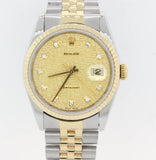 Rolex DateJust 16233 Two Tone Gold Two Tone Champagne Diamond Jubilee Watch S8