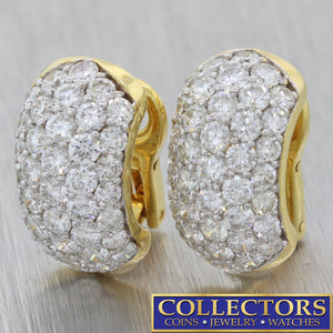 Modern 18k Yellow Gold 6ctw Round Brilliant Diamond Cluster Huggie Earrings G8