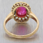 1880 Antique Victorian 18k Yellow Gold Cabochon Ruby Rose Diamond Cocktail Ring