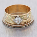 1890s Antique Victorian 14k Tri-color Gold .25ctw Diamond 7mm Wide Band Ring