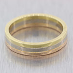 Cartier Solid 18k Yellow White Rose Gold 5mm Wedding Band Ring $1520