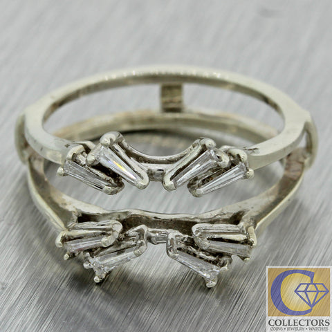 1930s Antique Art Deco 14k Gold .24ctw Diamond Insert Engagement Ring Guard